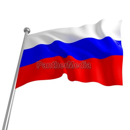 3d flagge von russland auf weissem