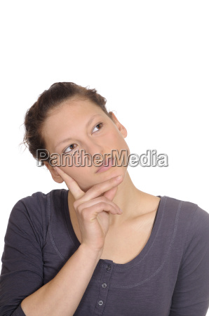 young woman looks thoughtfully