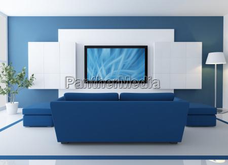 blau und weiss wohnzimmer