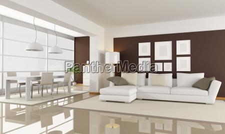Fesselnd Lizenzfreies Bild 4276013   Modernes Wohnzimmer Mit Essbereich Rendering