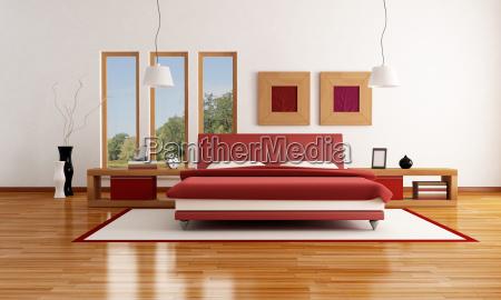 rot weiss modernes schlafzimmer