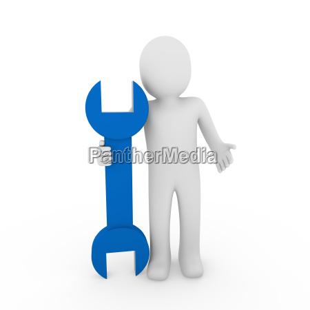 3d menschliche schraubenblauer