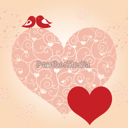 abstract red valentine birds pink heart