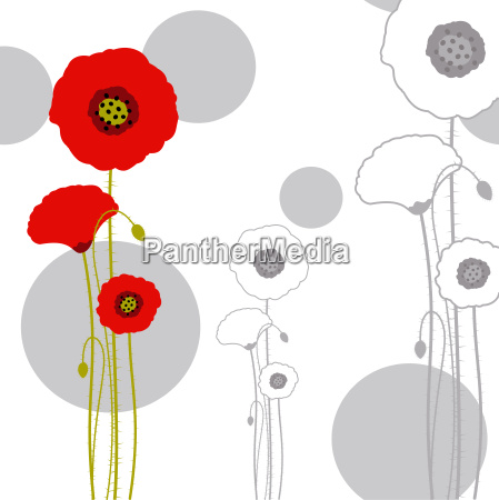 abstract red poppy on seamless pattern