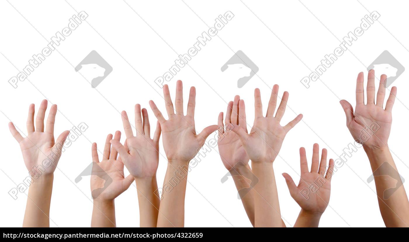 alle, menschen, heben, die, hände - 4322659