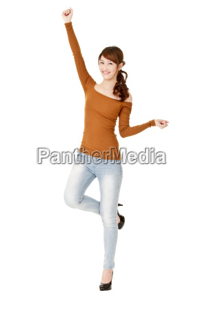 happy woman dancing