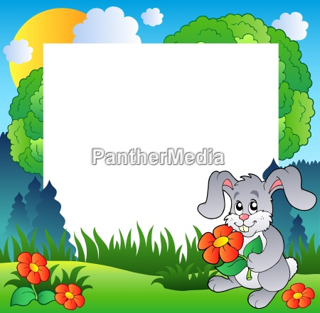 spring frame with bunny and flowers