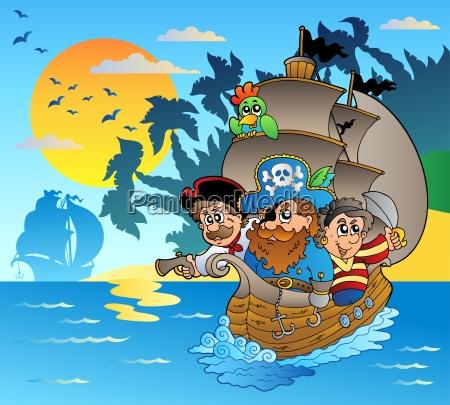 drei piraten in boot in der