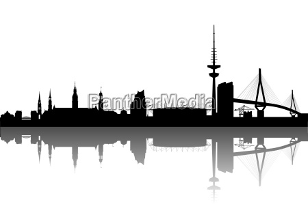 hamburg silhouette abstract