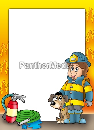 frame with firefighter and dog