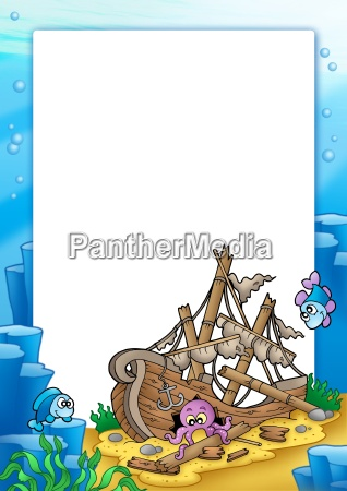 frame with shipwreck in sea