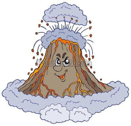 wuetend cartoon vulkan