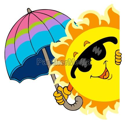 lauernde sonne mit regenschirm