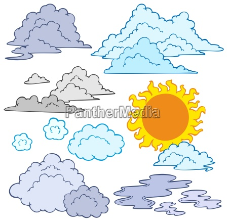 various clouds and sun