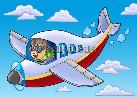 kariktoonflugator auf blauem himmel