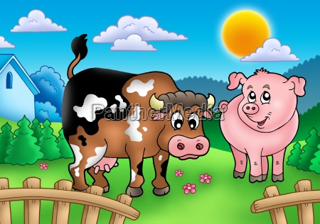 cartoon cow and pig behind fence