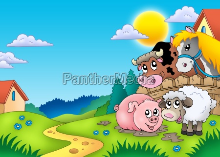 landscape with various farm animals