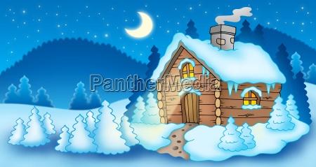 winterlandschaft mit kleinen huette