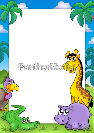 african frame with animals 2