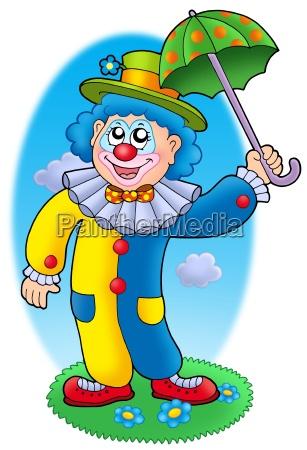 cartoon clown holding umbrella