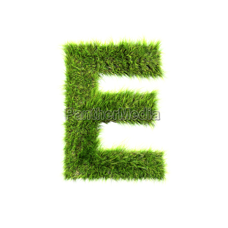 3d grass letter isolated on white