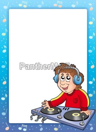 musikrahmen mit cartoon dj boy