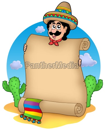 mexican man with scroll in desert