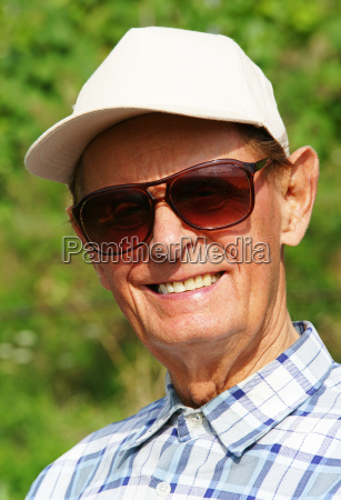 friendly senior in nature