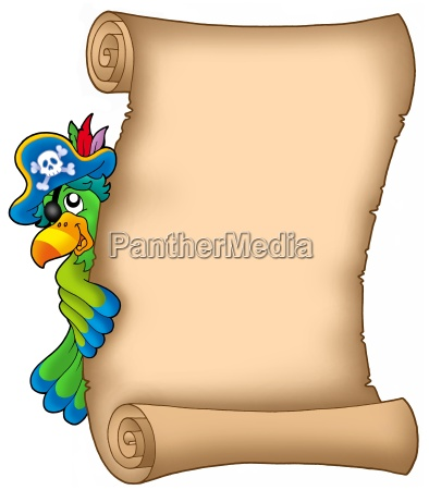 pergament mit lauernder papagei