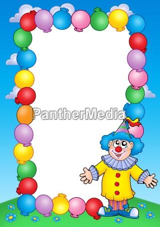 party einladungsrahmen mit clown 2