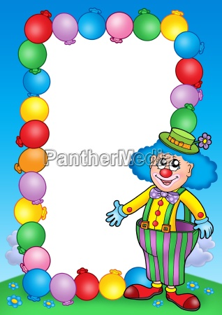 party invitation frame with clown 7