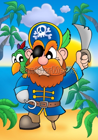 rote haare piraten mit papagei