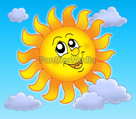 smiling sun on blue sky