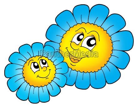 pair of smilling blue flowers