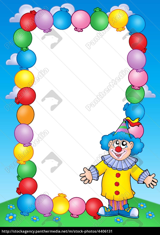 party einladungsrahmen mit clown 2 - Lizenzfreies Bild - #4406131 ...