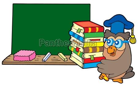 owl teacher with books and blackboard