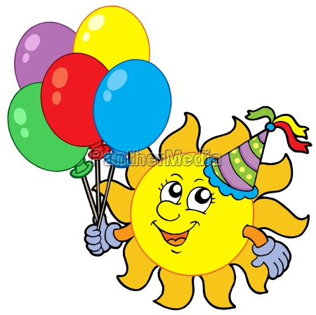 party sun with balloons