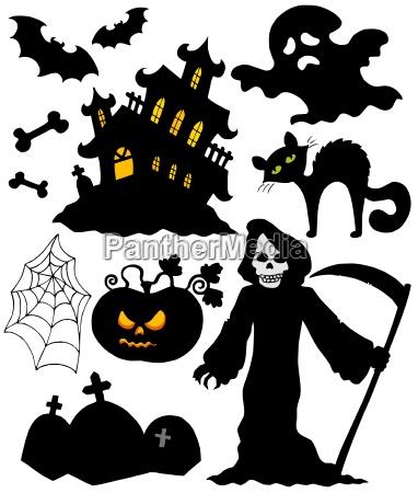 satz halloween schattenbilder