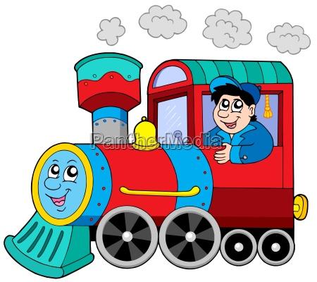 steam locomotive with engine driver