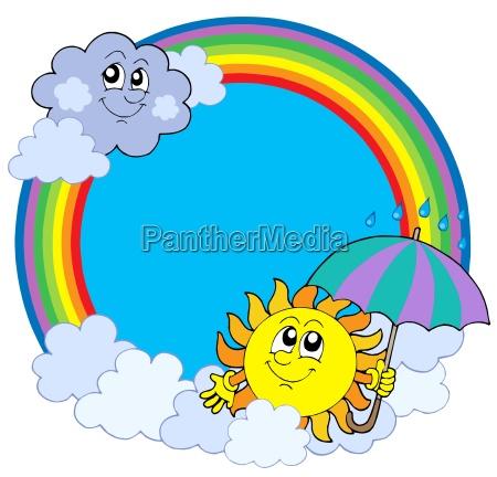 sonne und wolken im regenbogenkreis