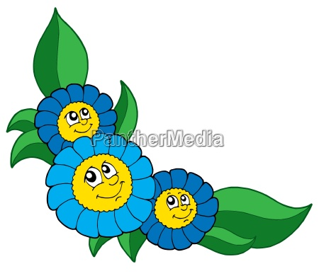 three smiling blue flowers