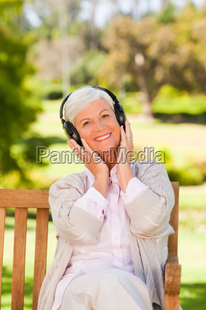 bench camera caucasian countryside female head