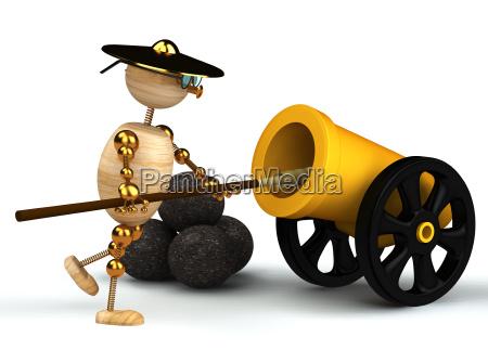 hoelzerner mann 3d sauberen gelben kanone