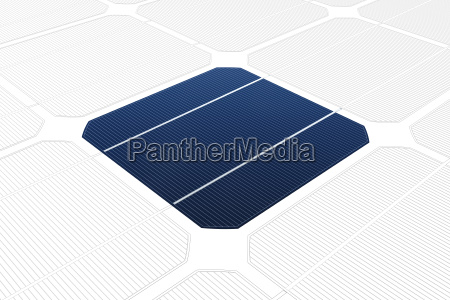 monocrystalline solar cell against a drawing