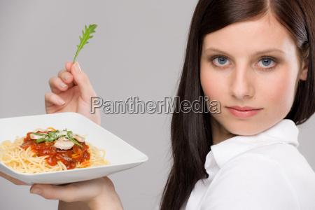 italian food portrait healthy woman