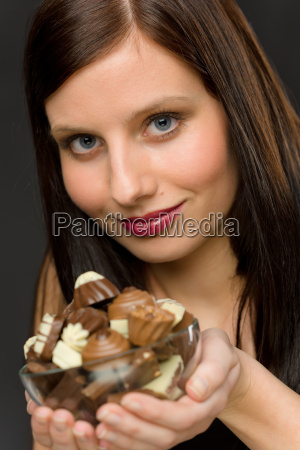 chocolate portrait young woman hold