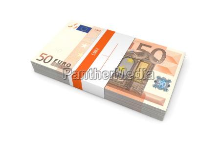 paket von 50 euro notes mit