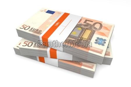 drei pakete von 50 euro banknoten