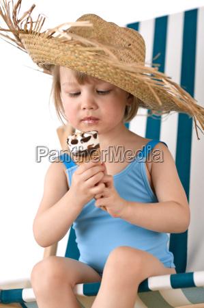 beach little girl on deck