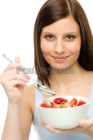 healthy lifestyle woman eat strawberry